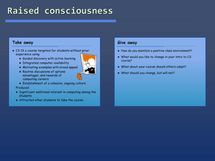 Raised consciousness