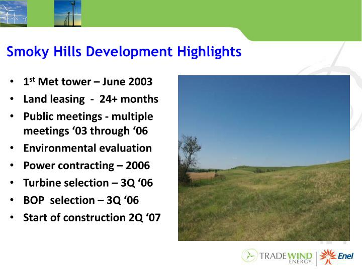 Smoky Hills Development Highlights
