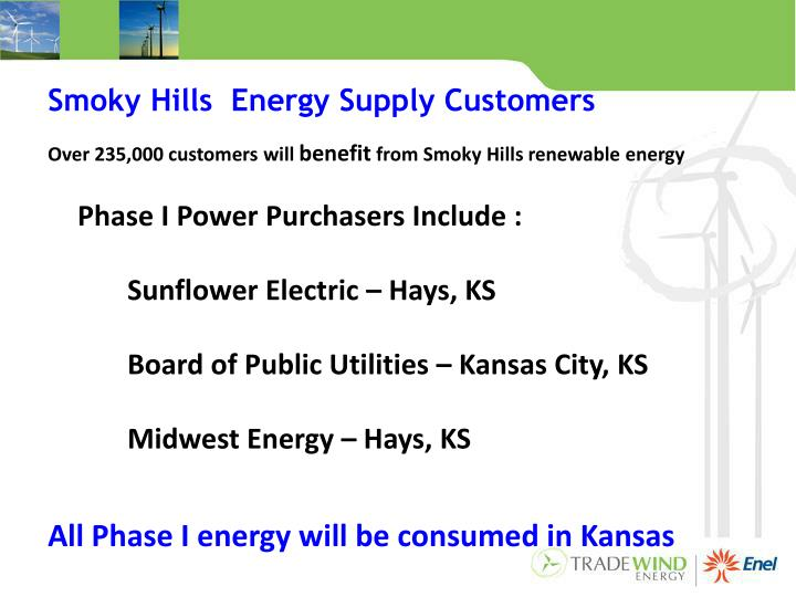Smoky Hills  Energy Supply Customers
