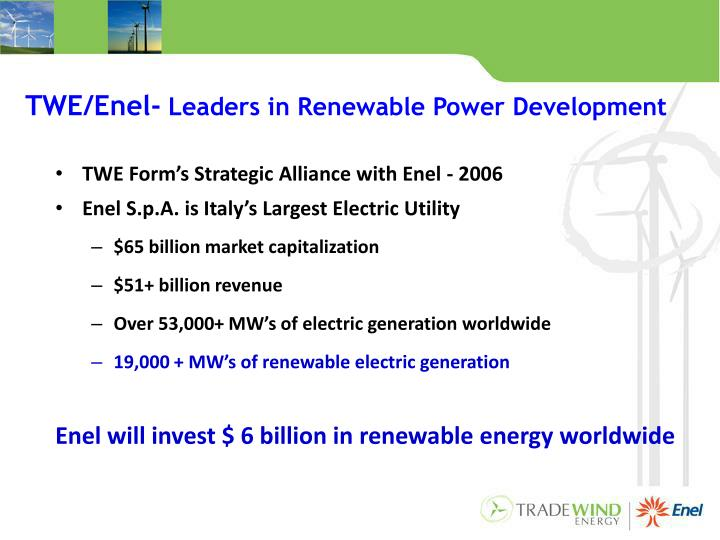 Twe enel leaders in renewable power development