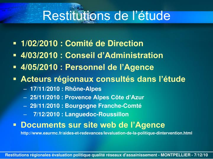 Restitutions de l tude