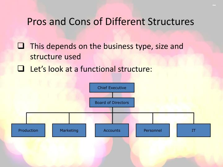 Pros and cons of different structures