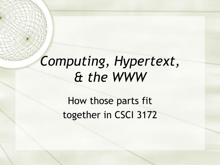 Computing, Hypertext,