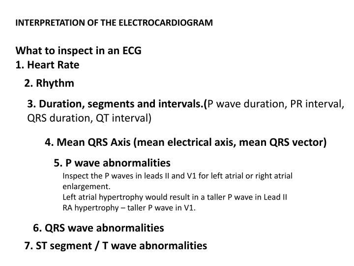 INTERPRETATION OF THE ELECTROCARDIOGRAM