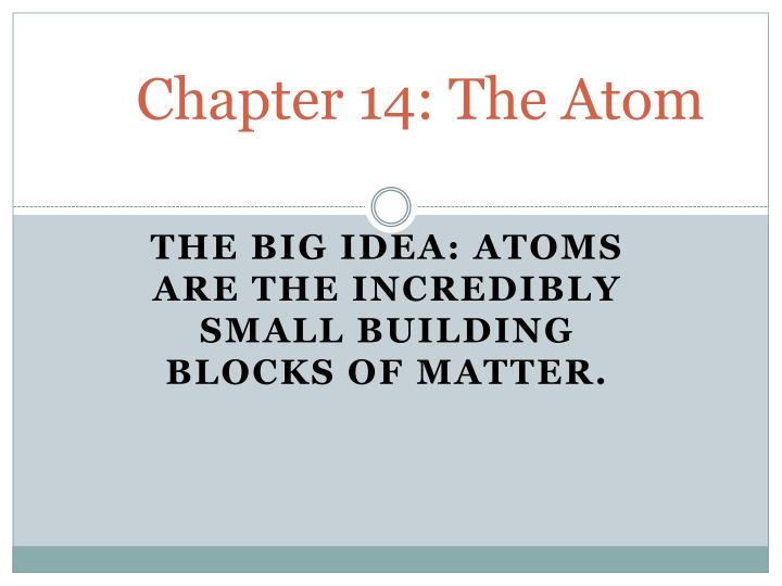 Chapter 14: The Atom