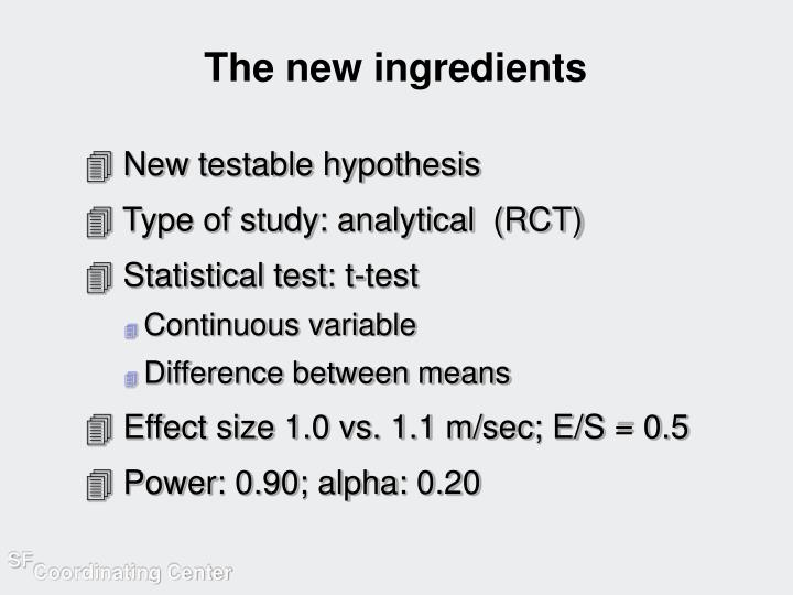 The new ingredients