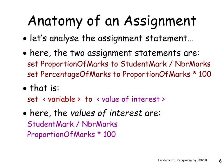 Anatomy of an Assignment
