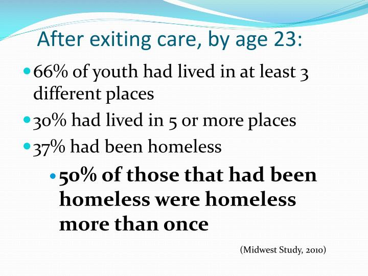 After exiting care, by age 23: