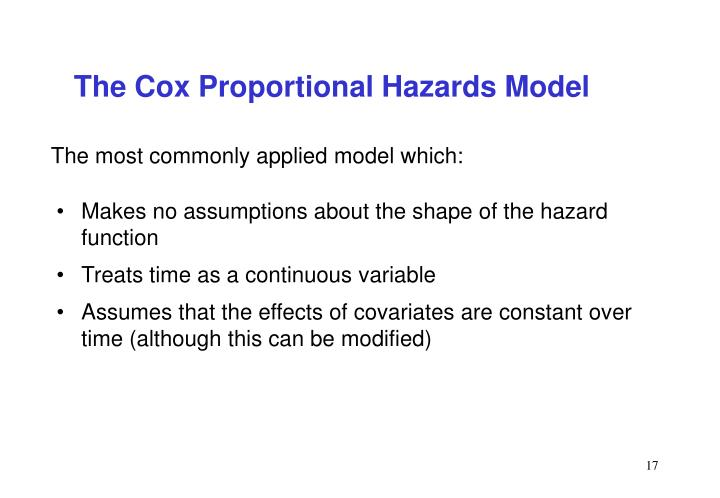 The Cox Proportional Hazards Model