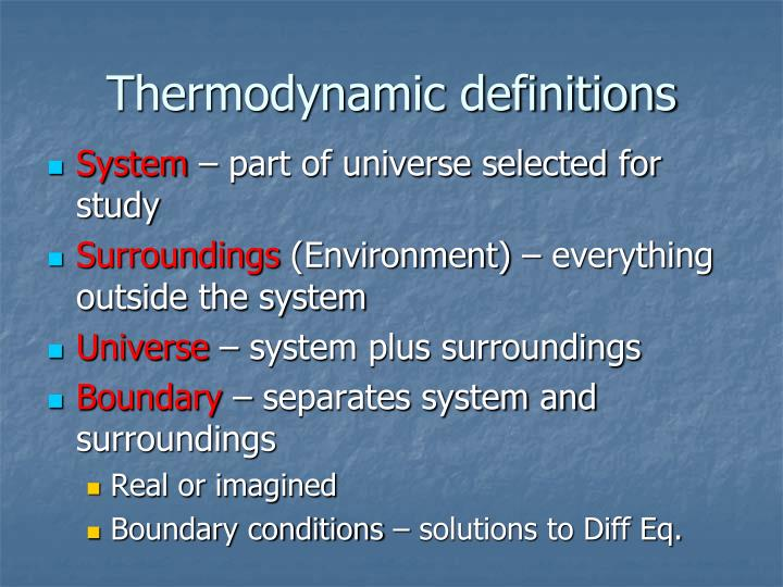 Thermodynamic definitions