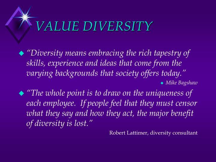 VALUE DIVERSITY