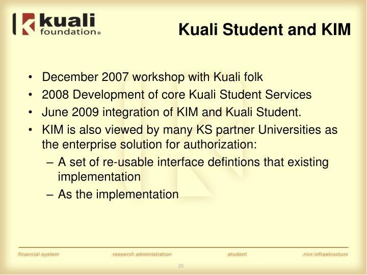 Kuali Student and KIM