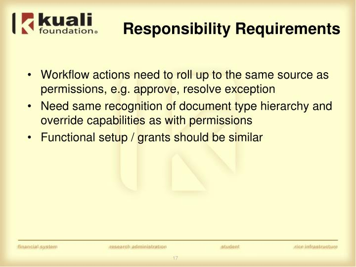 Responsibility Requirements