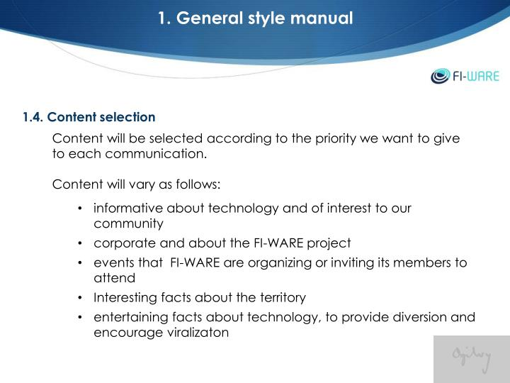1. General style manual