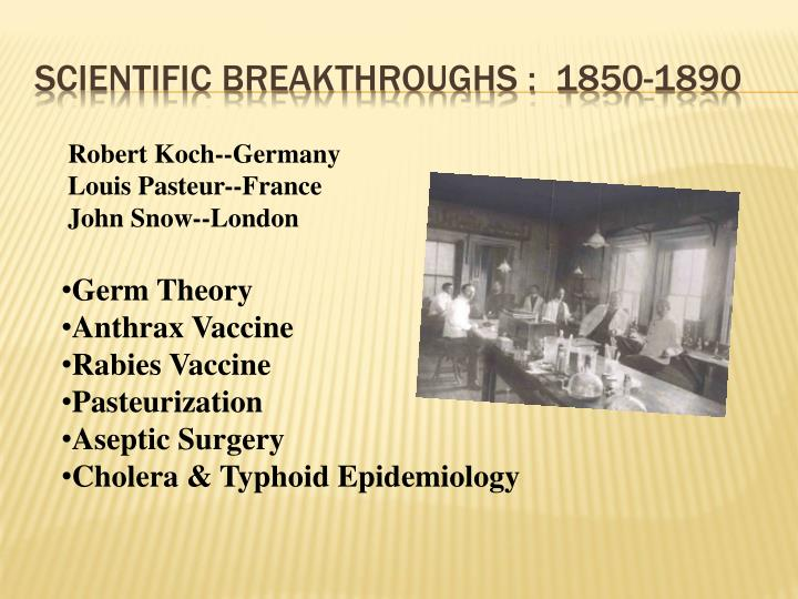 Scientific breakthroughs :  1850-1890