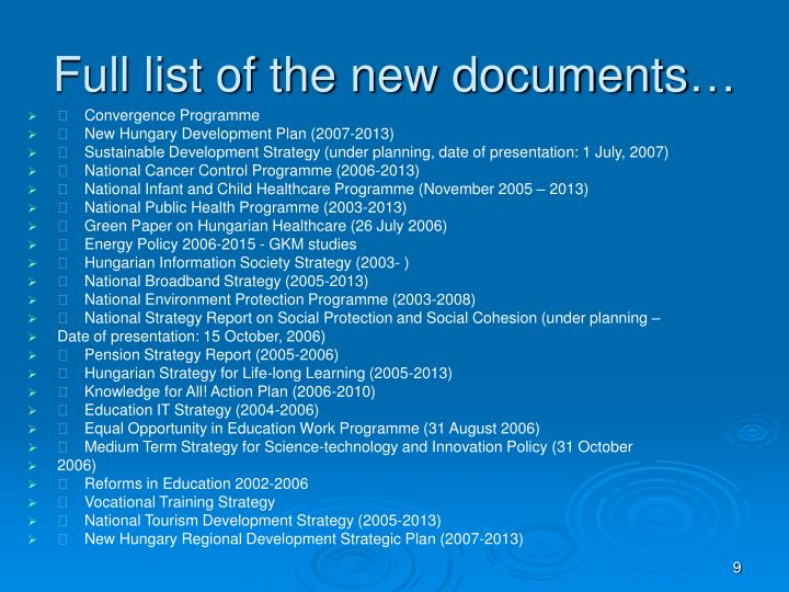 Full list of the new documents