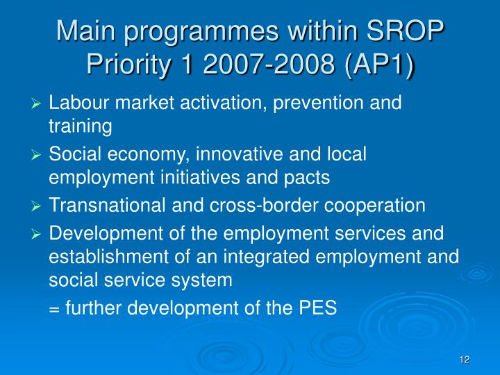 Main programmes within SROP Priority 1