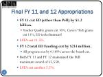 final fy 11 and 12 appropriations