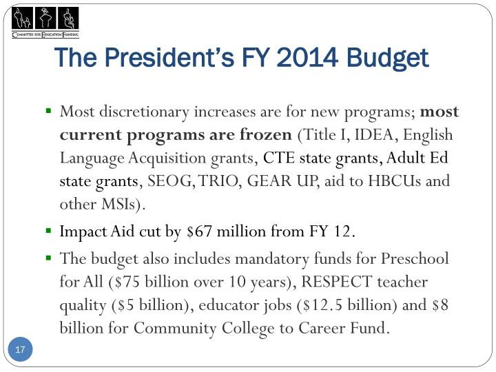 The President's FY 2014 Budget