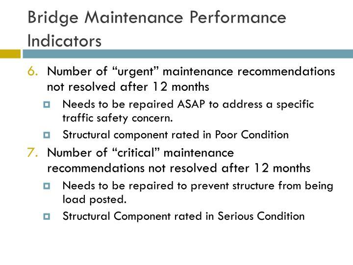 Bridge Maintenance Performance Indicators