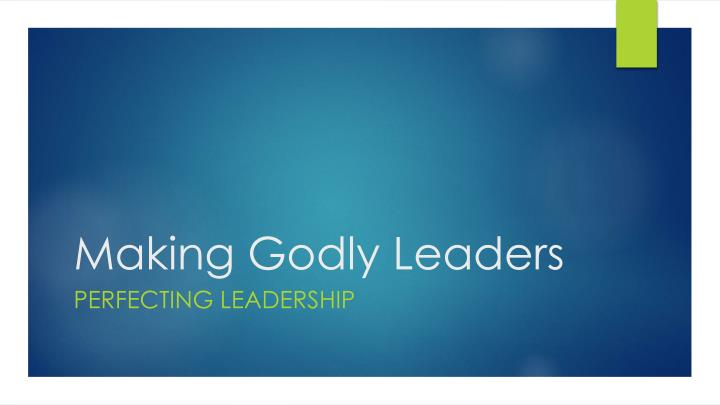 Making godly leaders