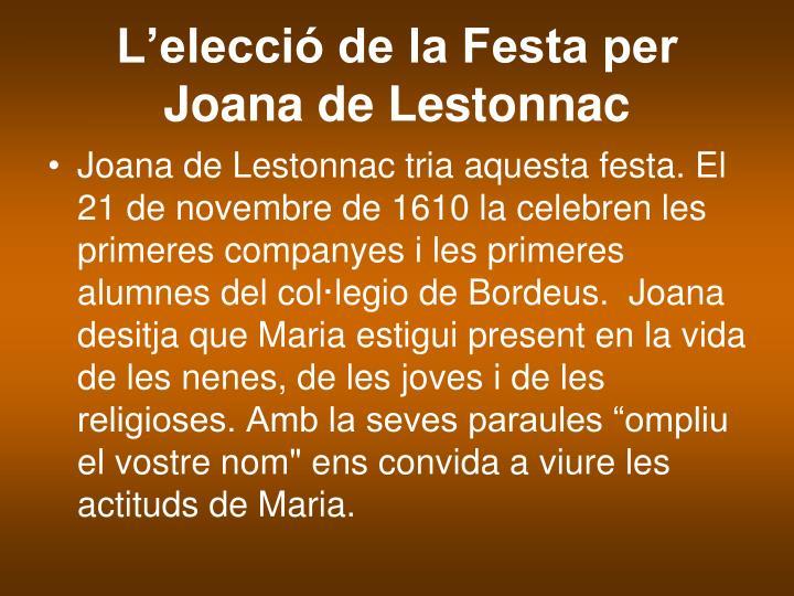 L'elecció de la Festa per Joana de Lestonnac