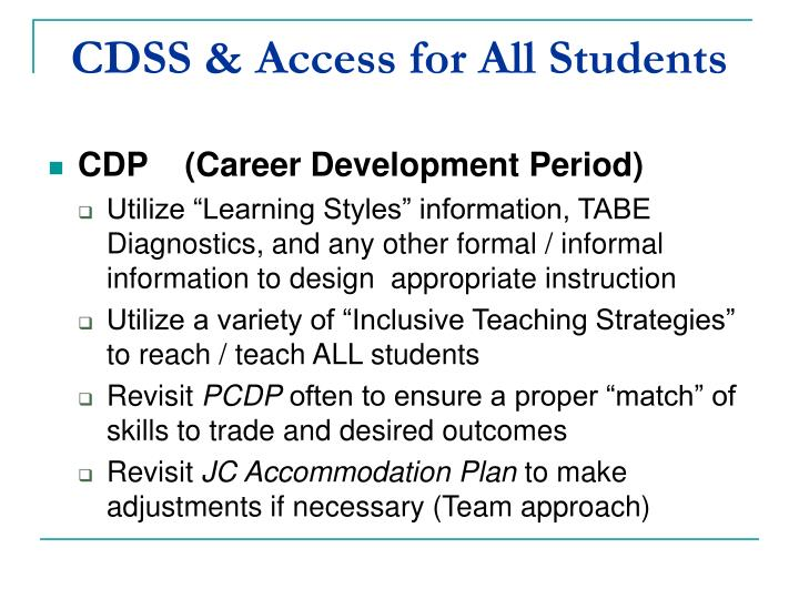 CDSS & Access for All Students