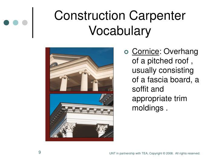 Ppt construction carpenter vocabulary powerpoint for Construction vocabulary