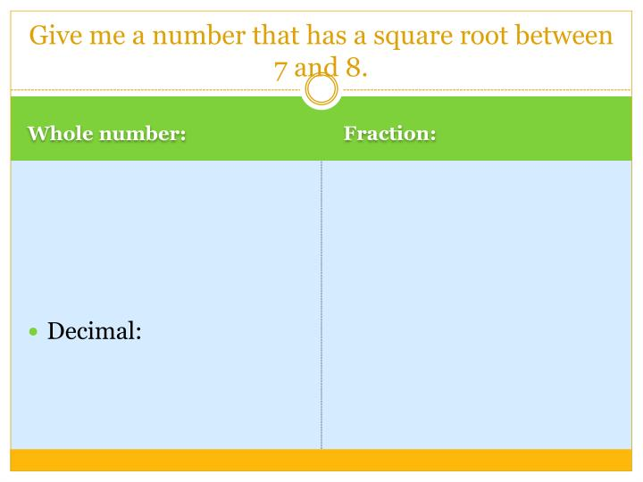 Give me a number that has a square root between 7 and 8.