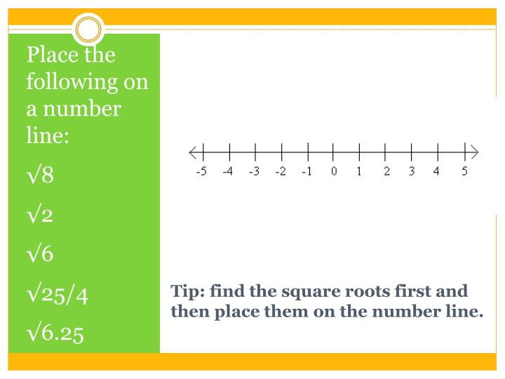 Place the following on a number line: