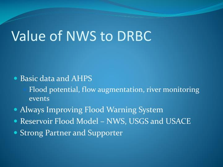 Value of NWS to DRBC