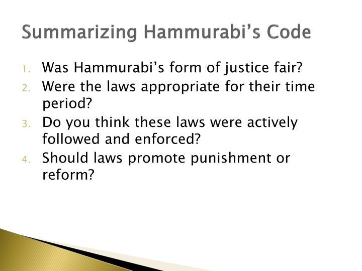 Summarizing Hammurabi's Code