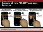 example of how percept app uses gestures
