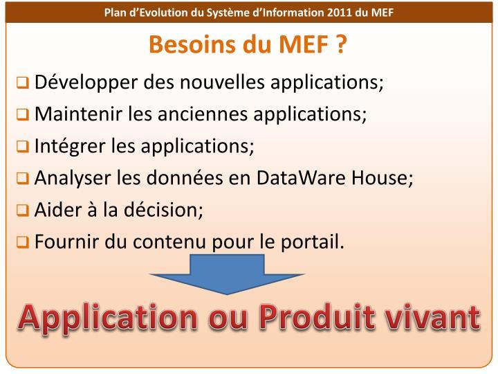 Développer des nouvelles applications;