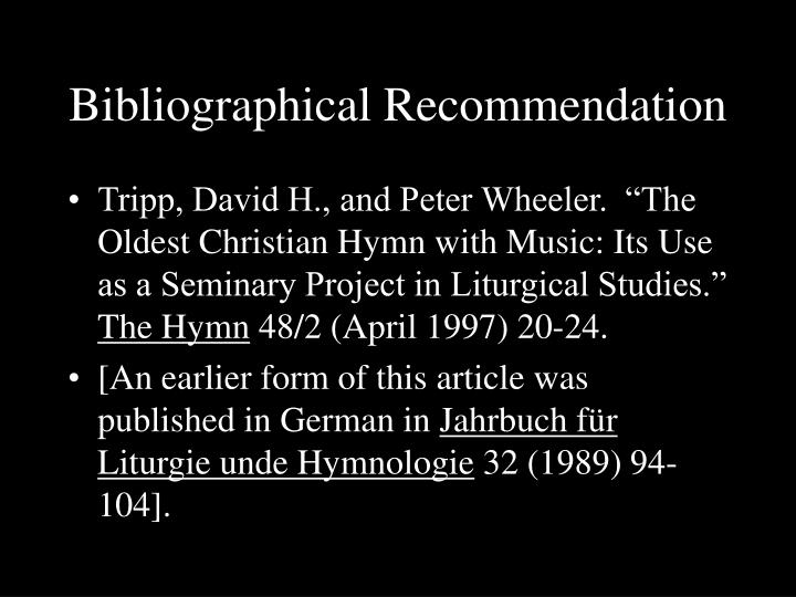 Bibliographical Recommendation
