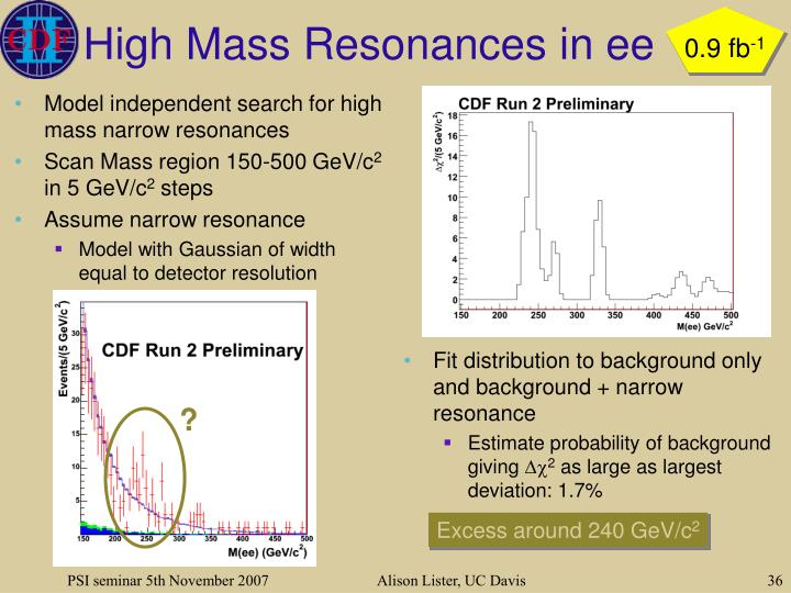 High Mass Resonances in ee