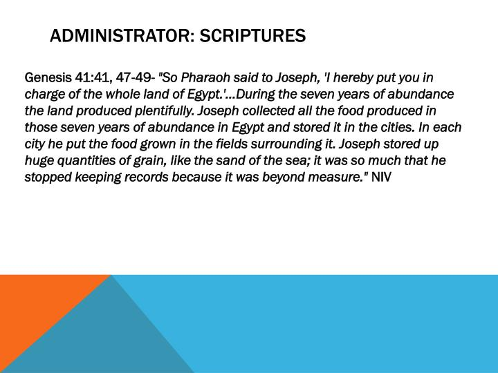 Administrator: Scriptures