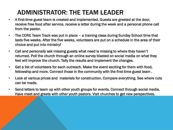 Administrator: The Team Leader