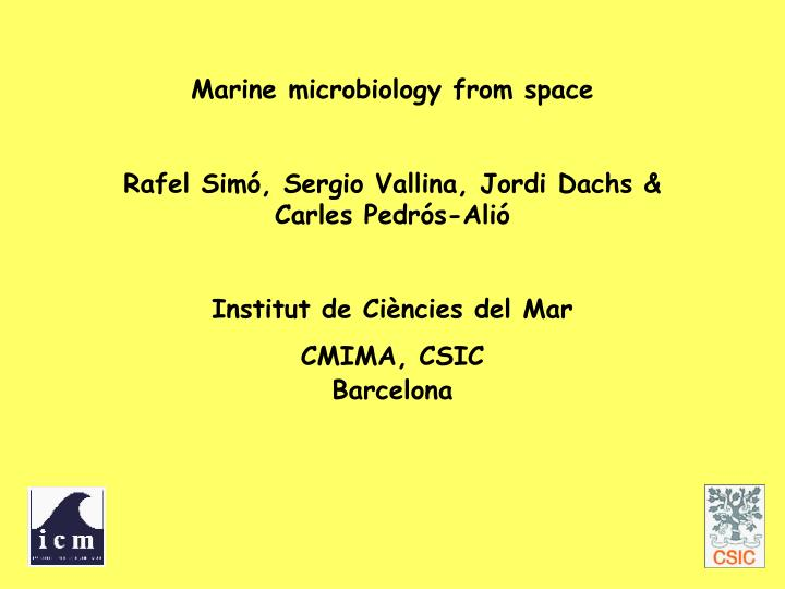 Marine microbiology from space