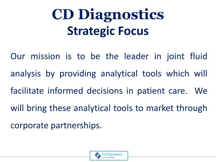 Cd diagnostics strategic focus