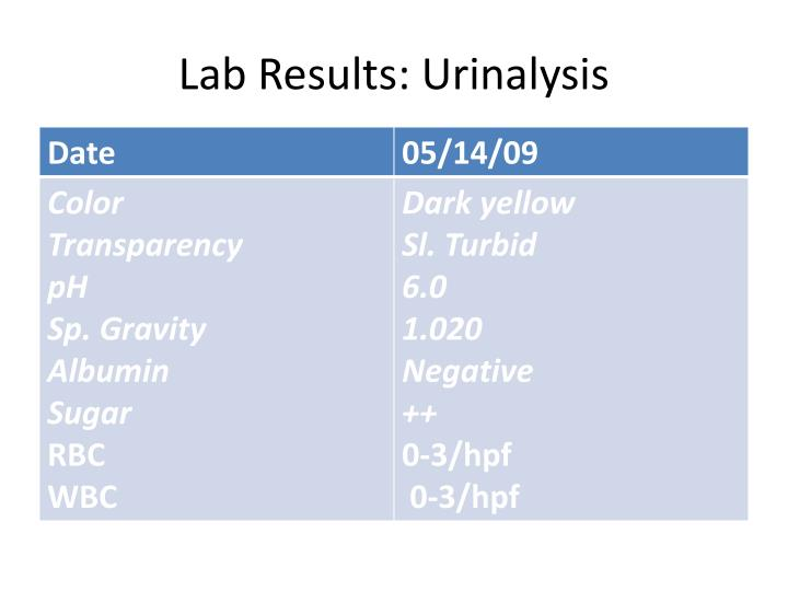 Lab Results: Urinalysis