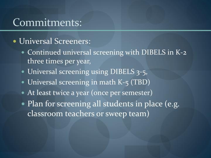 Commitments: