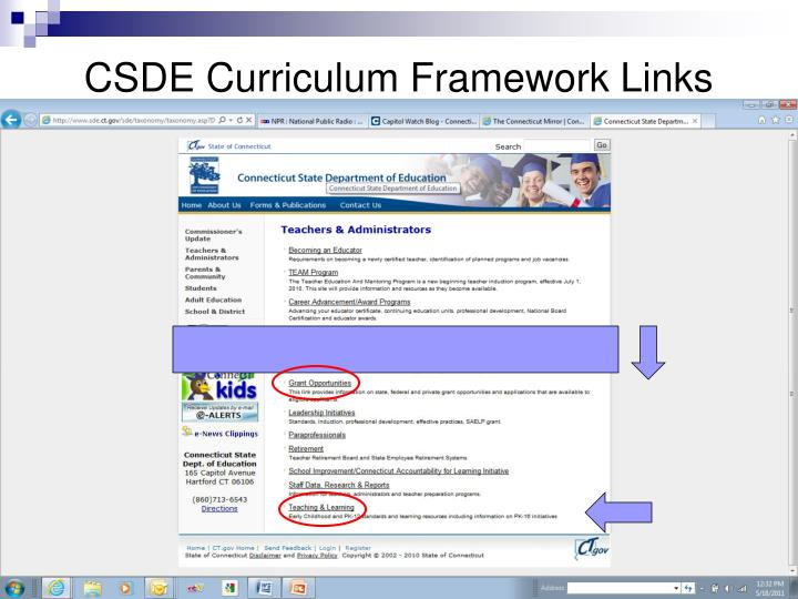 CSDE Curriculum Framework Links
