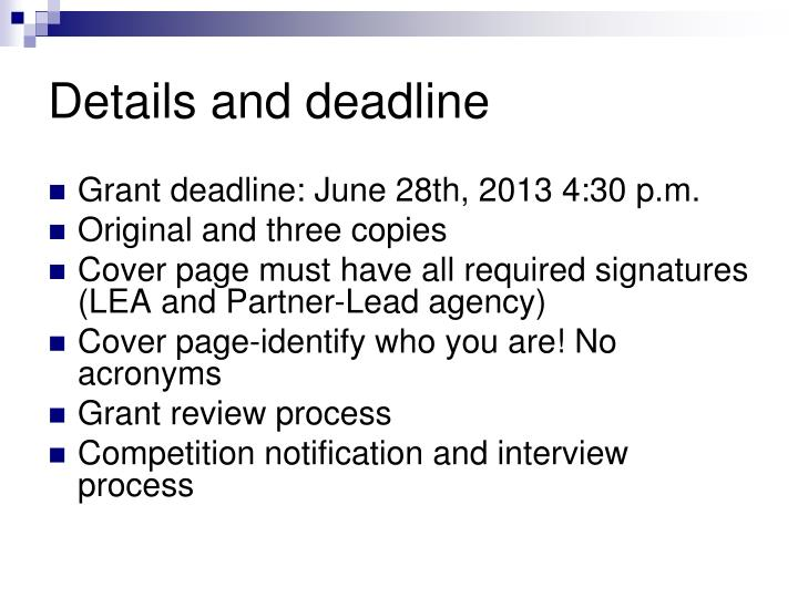 Details and deadline