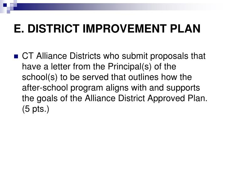 E. DISTRICT IMPROVEMENT PLAN