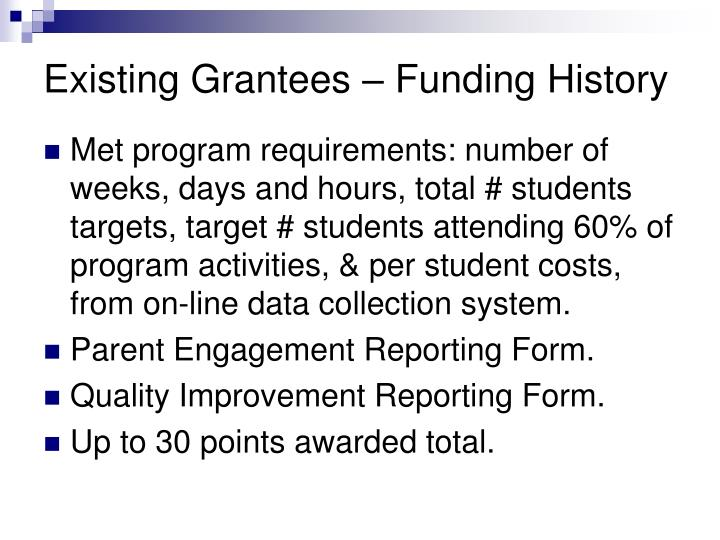 Existing Grantees – Funding History