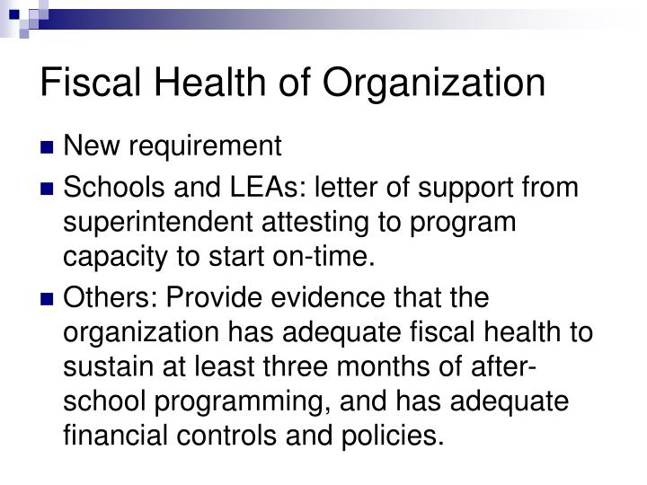 Fiscal Health of Organization