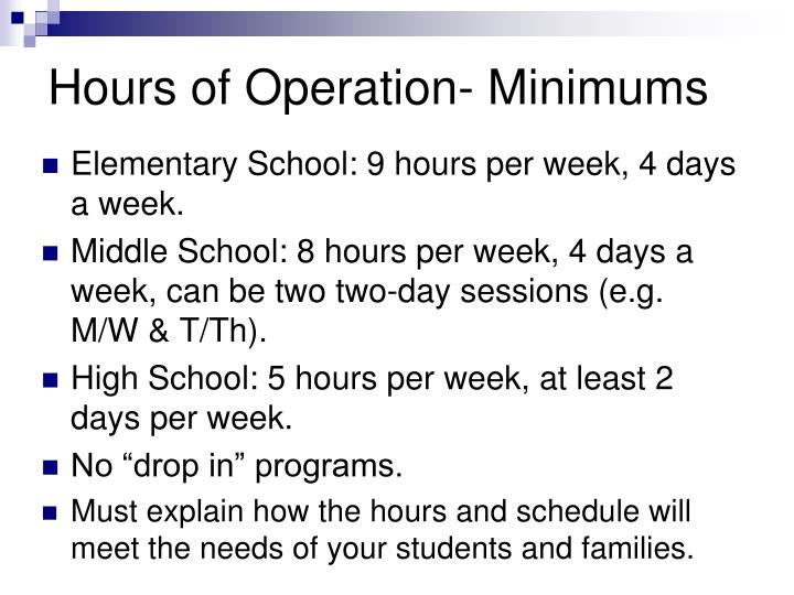 Hours of Operation- Minimums