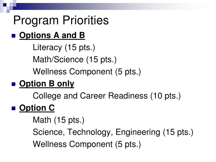 Program Priorities