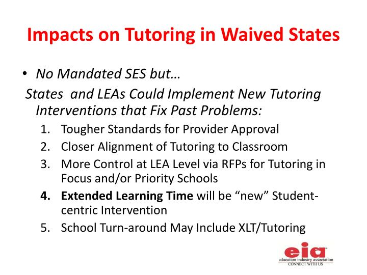 Impacts on Tutoring in Waived States